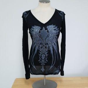 Embellished cut out long sleeve shirt
